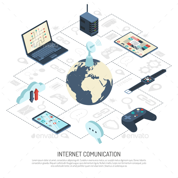 Internet of Things Isometric Composition - Computers Technology