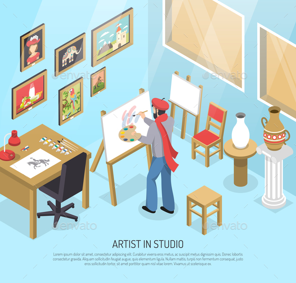 Artist In Studio Isometric Illustration - People Characters