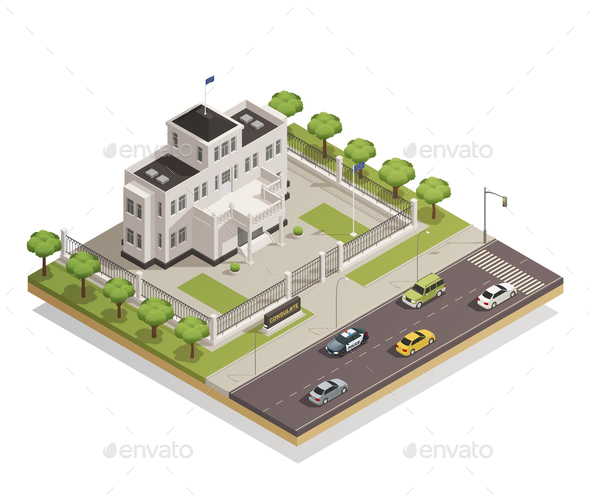 Government Building Area Isometric Composition - Buildings Objects