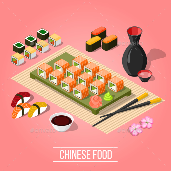 Isometric Sushi Bar Background - Food Objects