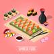 Isometric Sushi Bar Background