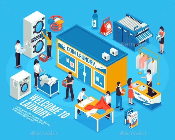 GraphicRiver Laundry Interior Isometric Composition 20681470