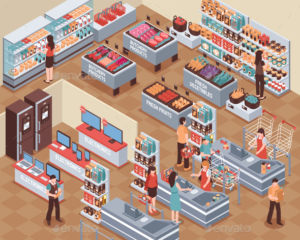 GraphicRiver Supermarket Isometric Illustration 20681472