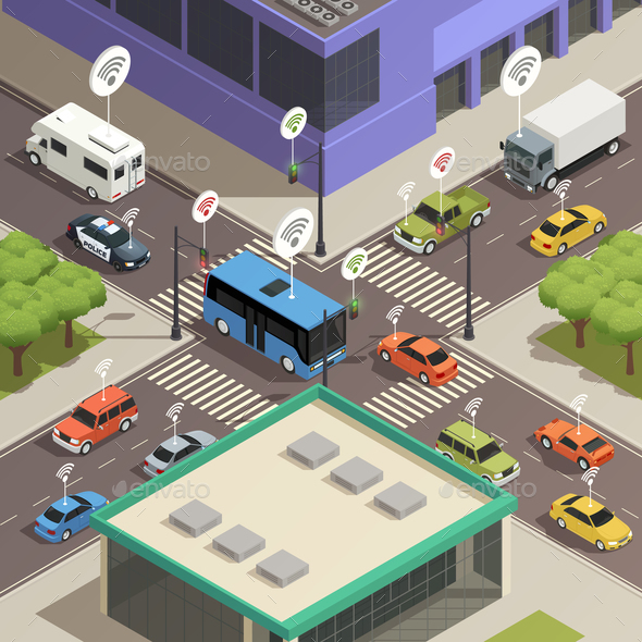 GraphicRiver Smart City Traffic Isometric Composition 20681475
