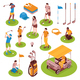 Golf Isometric Icons Set