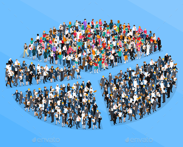 Crowd People Isometric Pie Chart - People Characters