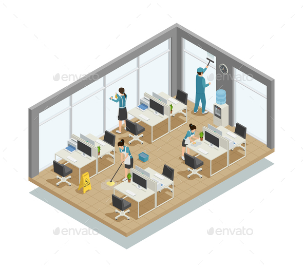 Office Cleaning Isometric Composition - Services Commercial / Shopping