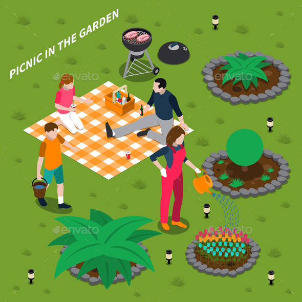 GraphicRiver Picnic In Garden Isometric Design Concept 20681507
