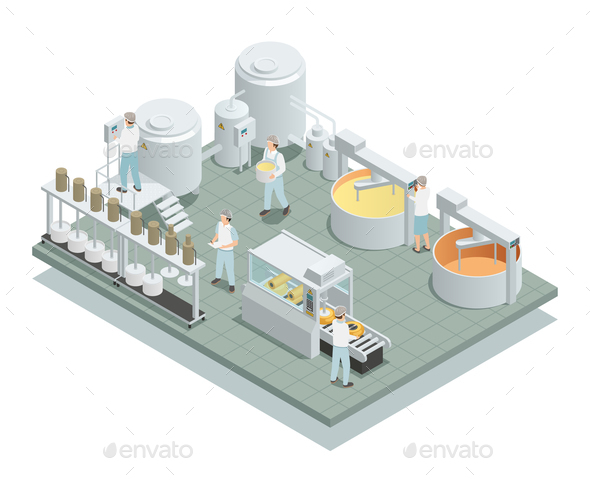 Cheese Production Factory Isometric Composition - Food Objects