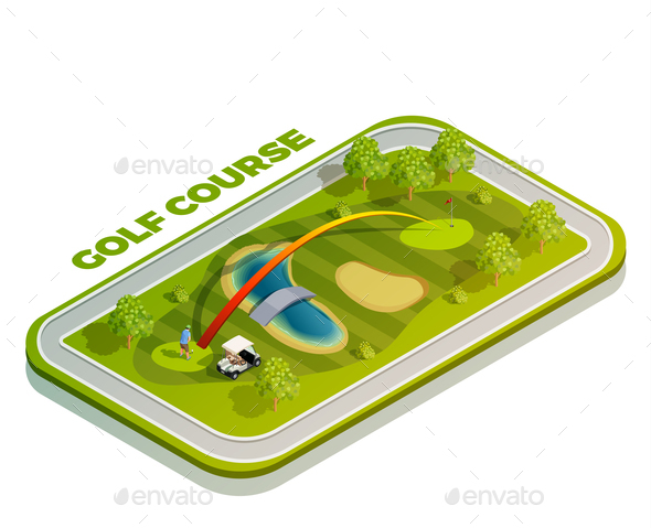 Golf Course Isometric Composition - Sports/Activity Conceptual