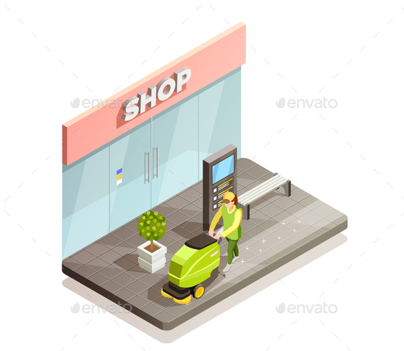 Cleaning Isometric Composition - Industries Business