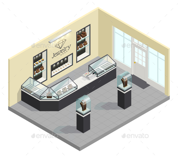 Jewelry Shop Isometric Interior - Buildings Objects