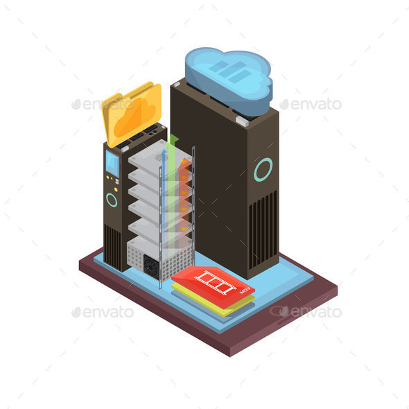 GraphicRiver Cloud Storage Isometric Design 20681522