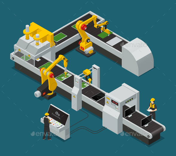 GraphicRiver Electronics Factory Equipment Staff Isometric Composition 20681526