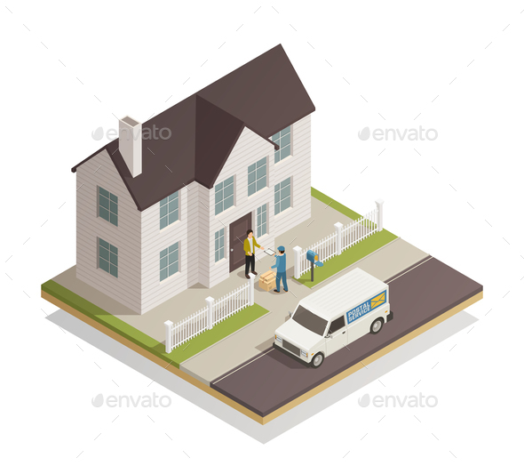 Postal Delivery Service Isometric Composition - Industries Business