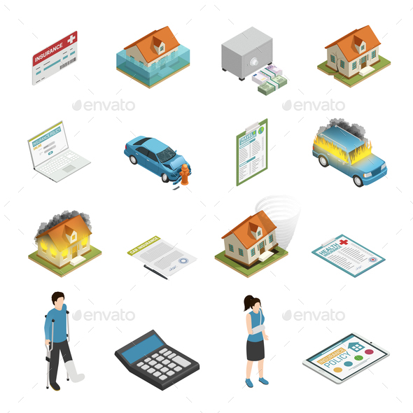 Insurance Policy Isometric Icons Set - Health/Medicine Conceptual