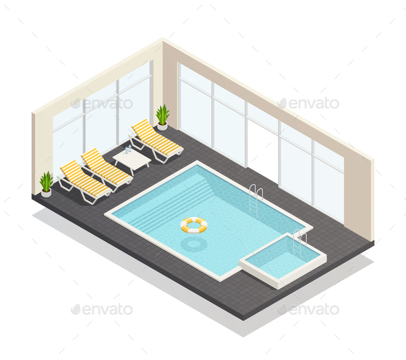 Recreation Swimming Pool Isometric Composition - Sports/Activity Conceptual