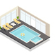 Recreation Swimming Pool Isometric Composition