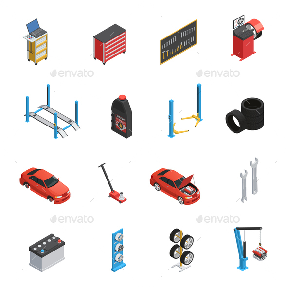 GraphicRiver Car Maintenance Service Isometric icons 20681574