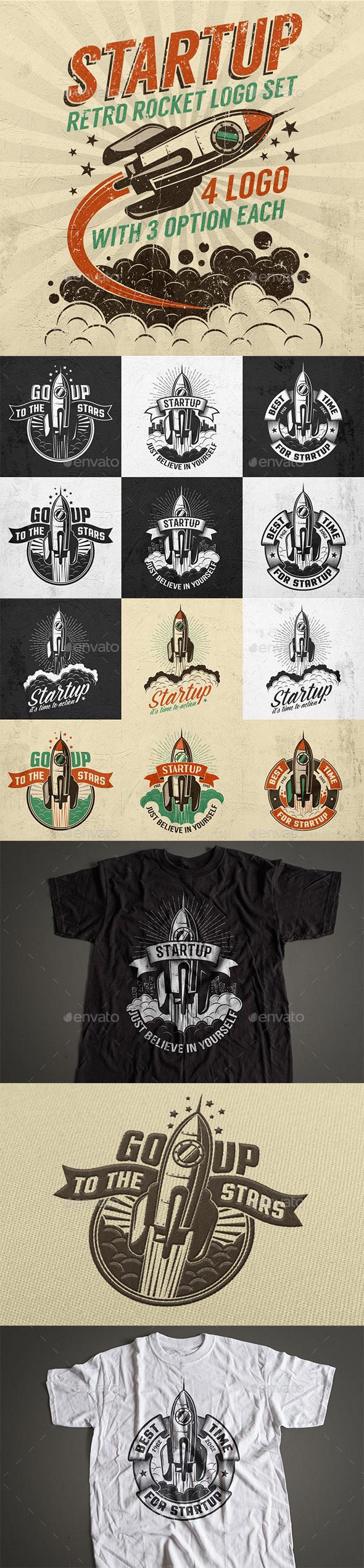 Startup Rocket Retro Logo - Miscellaneous Conceptual