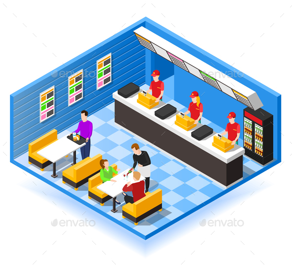 GraphicRiver Fast Food Isometric Background 20681665
