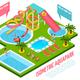 Aquapark Isometric Composition
