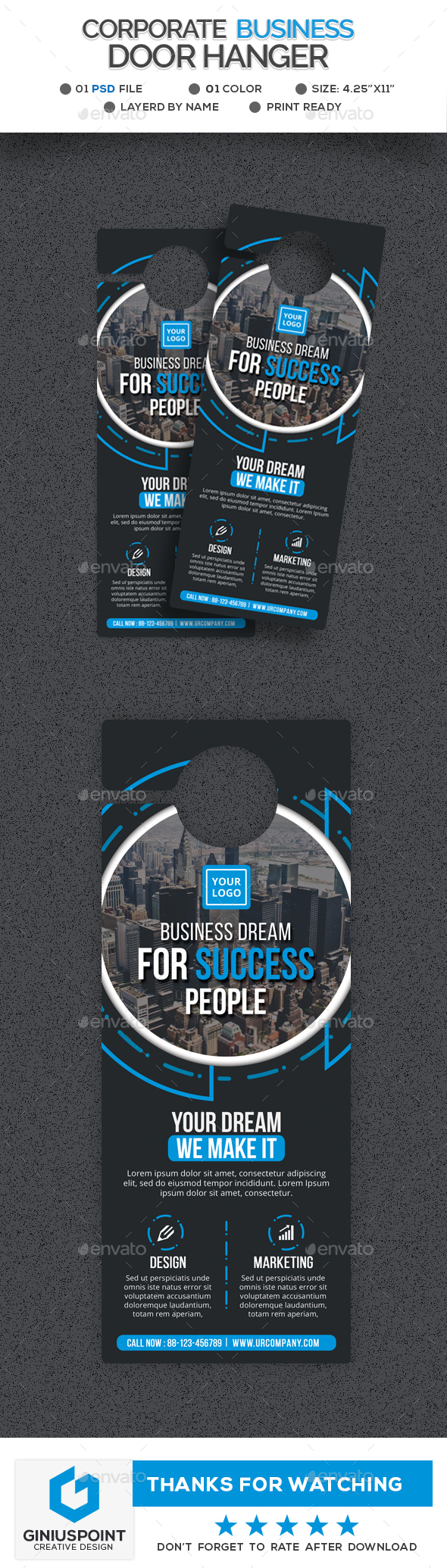 Corporate Business Door Hanger - Miscellaneous Print Templates