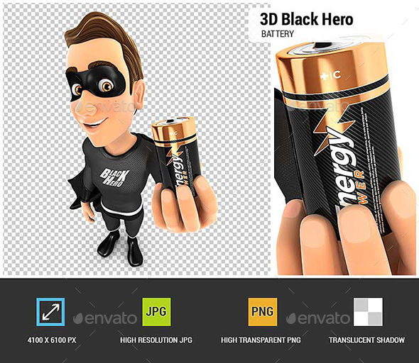 3D Black Hero Holding Battery - Characters 3D Renders
