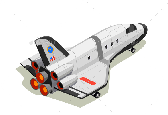 GraphicRiver Space Shuttle Isometric Composition 20681744