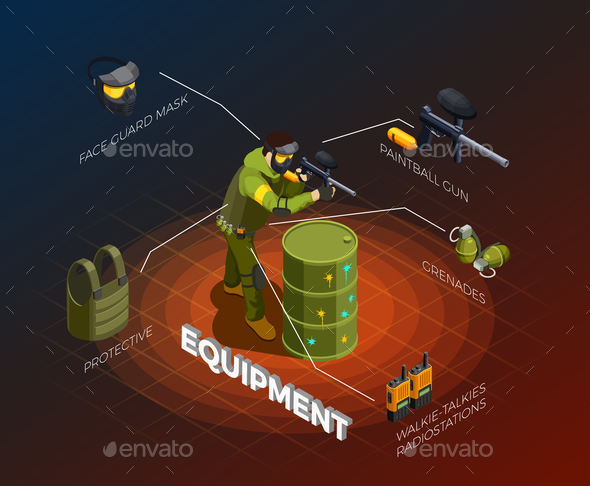 GraphicRiver Paintball Player Isometric Infographics 20681747