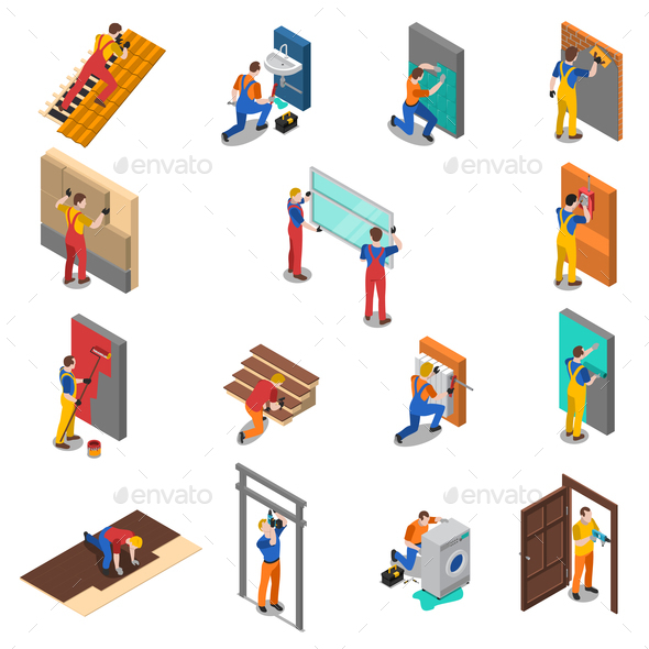 GraphicRiver Home Repair Worker People Icon Set 20681748