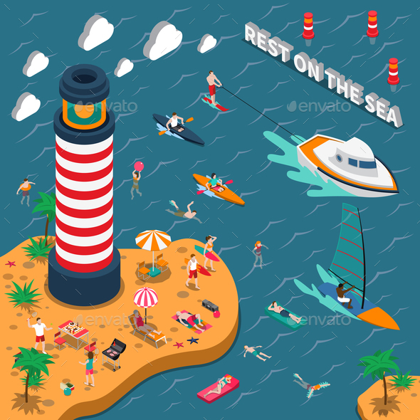 Water Sports Isometric People Poster - Sports/Activity Conceptual