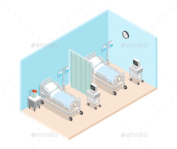 Hospital Ward Isometric Interior - Health/Medicine Conceptual