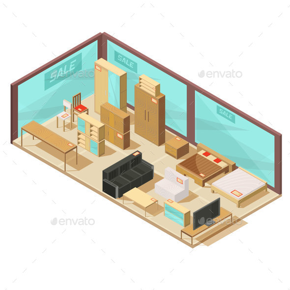 Furniture Store Isometric Composition - Buildings Objects