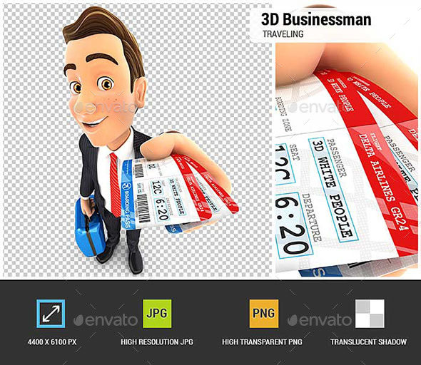 GraphicRiver 3D Businessman Traveling for Business 20681765
