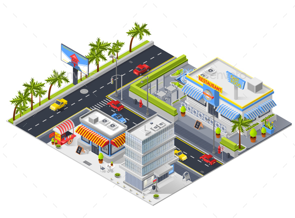 Isometric Urban Landscape with Street Restaurant - Buildings Objects