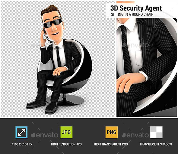 3D Security Agent Sitting in a Round Chair - Characters 3D Renders