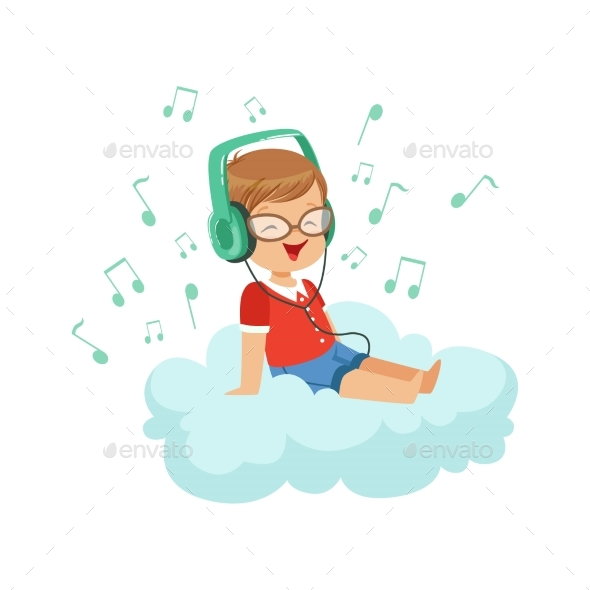 GraphicRiver Boy Sitting on Cloud Listening Music 20681775