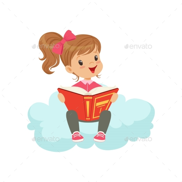 GraphicRiver Girl Sitting on Cloud Reading a Book 20681777