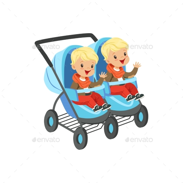Twins Sitting in a Blue Baby Carriage - People Characters