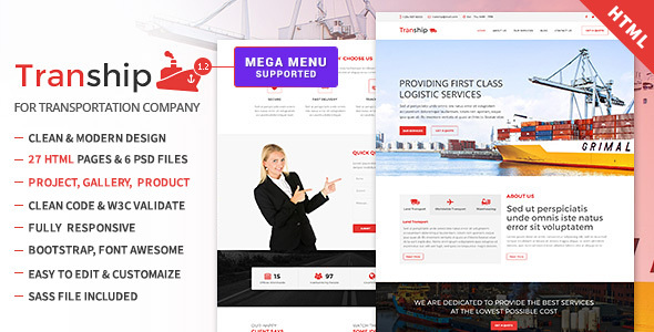 Tranship - Shipping / Logistics / Transportation / Responsive HTML Template - Corporate Site Templates