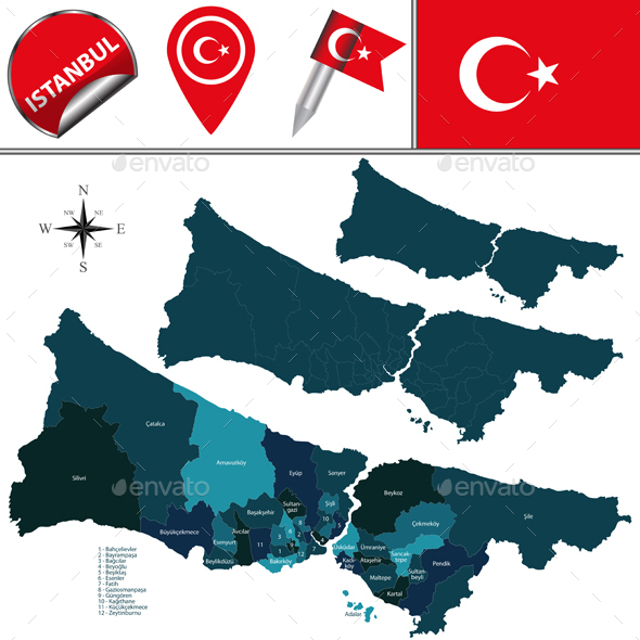 Map of Istanbul with Districts - Travel Conceptual