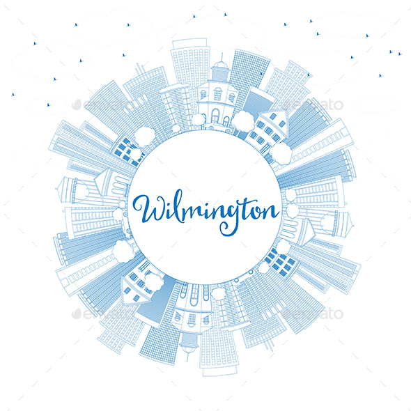 Outline Wilmington Skyline with Blue Buildings and Copy Space - Buildings Objects
