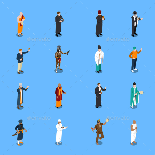 People Religion Isometric Icons Set - People Characters
