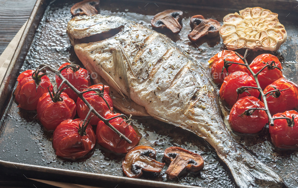 Grilled fish with thyme stock photo by alex9500 photodune for Fish thyme menu