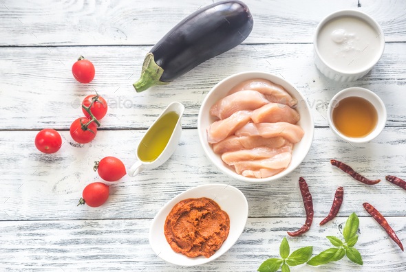 Ingredients for thai red chicken curry - Stock Photo - Images