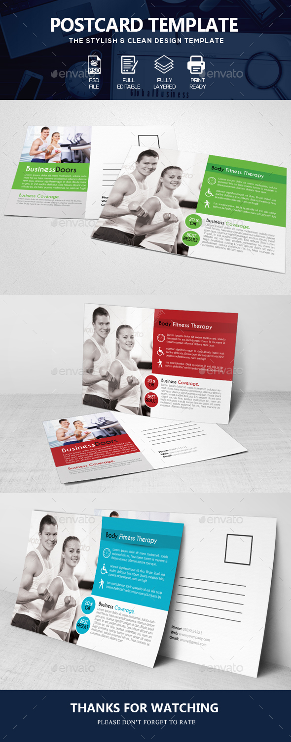 GraphicRiver Body Fitness Gym Post Cards 20682188