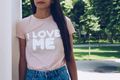 """Girl is wearing t-shirt with a text """" I love me"""" - PhotoDune Item for Sale"""