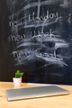 Workplace, study, room with table and written blackboard, concep - PhotoDune Item for Sale