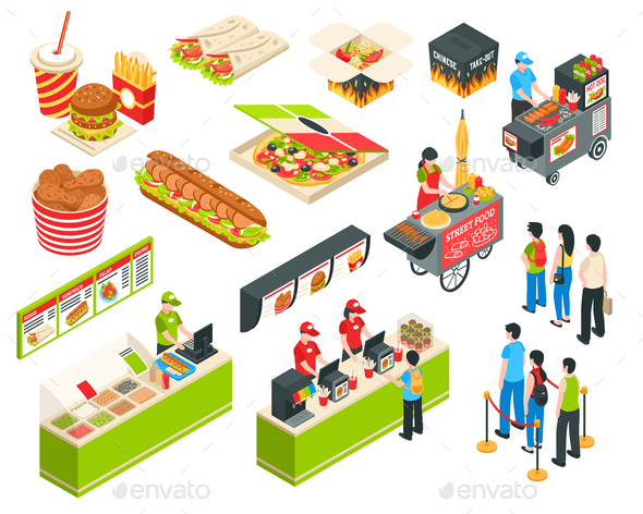 GraphicRiver Fast Food Isometric Icons Set 20682248